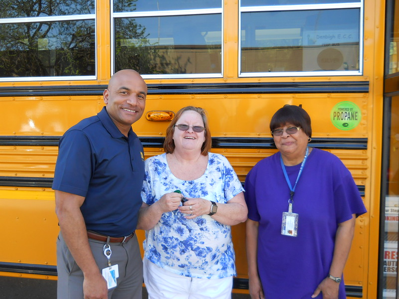 From left to right : Shay Coates – Director of Transportation, Nancy Tarr – Bus Driver , Marion Walker – Bus Assistant