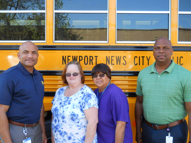 From left to right : Shay Coates – Director of Transportation, Nancy Tarr – Bus Driver , Marion Walker – Bus Assistant, James Riddick- Operations Supervisor