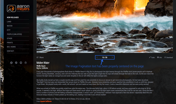 Properly Center the Image Pagination