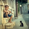 Little musician and cat