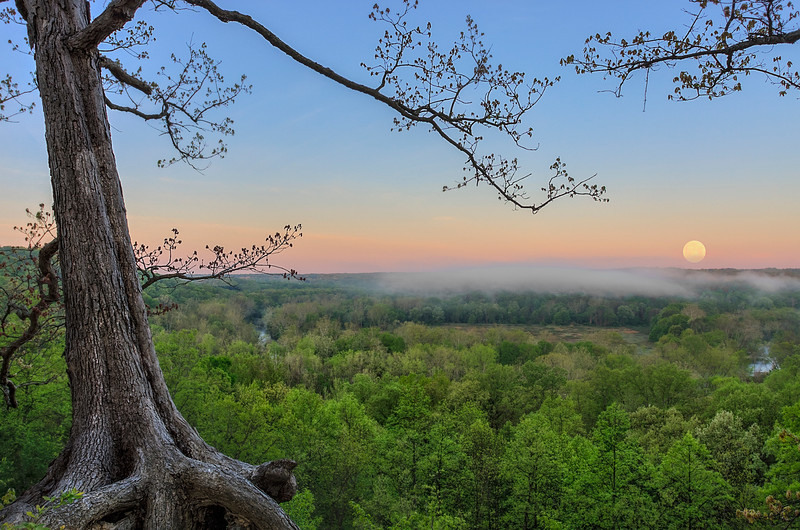 Gorgeous full moon setting over the Cuyahoga Valley National Park