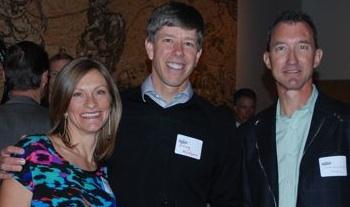 Lisa and Doug Hudson, Feedback Sports and Dave Edwards, Primal Wear enjoy the evening.  Photo by Jake Kirkpatrick.