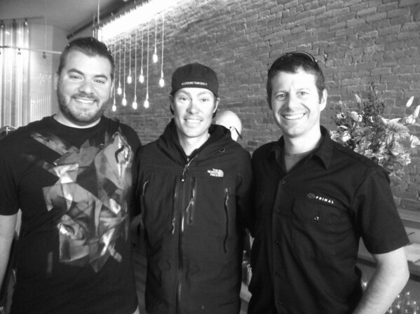 Cole Weinmann winner of the Primal Wear essay contest, Tom Danielson, and John Hutchinson enjoyed great food at Pasta Vino after the ride.