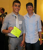 Boulder High student athlete speaker, Jacobo Jiminez with Tom Danielson, Garmin-Barracuda. Photo Ben Boyer.