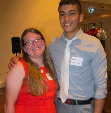 Scout Sorcic, Buena Vista and Jacobo Jimenez, Boulder High, student athlete speakers enjoy the evening.