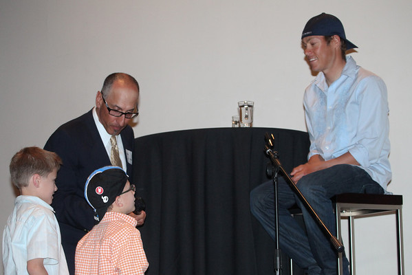 Andy and Owen Ravegum ask Tom Danielson a question. Photo Rob Noble.