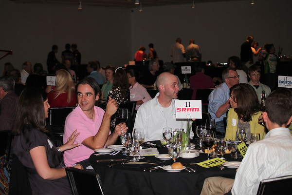 Dan Boromisa and Kris Thompson, 303 Cycling dine at the SRAM table. Photo Rob Noble.