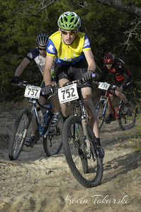 Joseph Tokarski leads teammate Austin Potter and Logan Sain at St. Jo. The order of the riders in this photo matches the 2005 Texas Mountain Bike Championship Series: Sport Junior Men 15-16 final results. The 3 boys became good friends in 2005 that should last a lifetime.