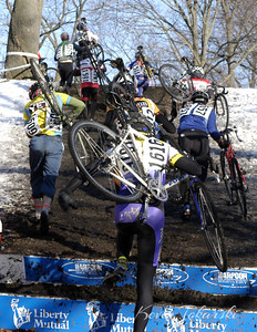 2005 Liberty Mutual U.S. National Cyclo-cross Championships, Providence, Rhode Island, Men B Race. This appears to be the typical classic cyclocross photo of a group climbing a hill until you notice the racer wearing Dockers… what's up with that?