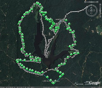 I pre-rode the course Saturday before the race, looking for photo ops, not to race. I thought this GPS-Google Earth comparison of last year's course to this years was worth sharing. The green triangles are last years, the white squares are this year's (the white squares include the parking area and road out of the park). It's kind of hard to tell where you are relative to the lake when riding, but this helps put it in perspective