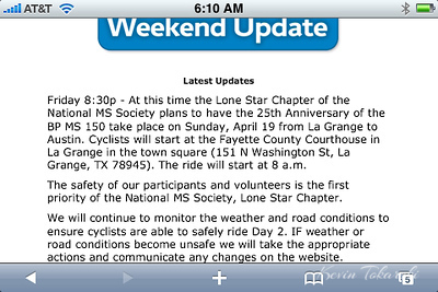 Saturdays ride from Houston to La Grange was cancelled due to heavy storms in La Grange. This is the first time in 25 years they had to cancel the ride.