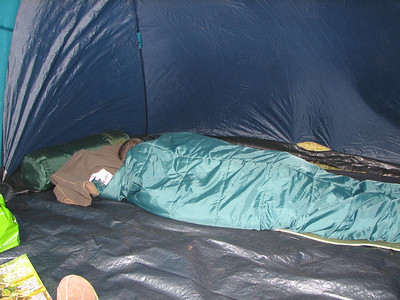 Ray always asleep, His snoring has ripped the bloody tent