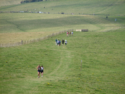 a normal view of the south downs , being used and enjoyed by all