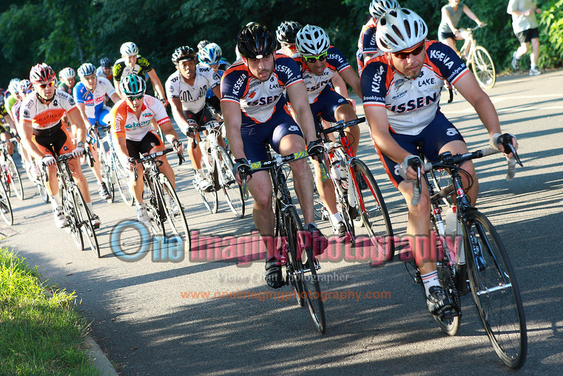Kissena is preparing for a sprint finish.  Lap 6.<br />  Al Toefield Memorial Road Race 7/16/11 > Cat 4