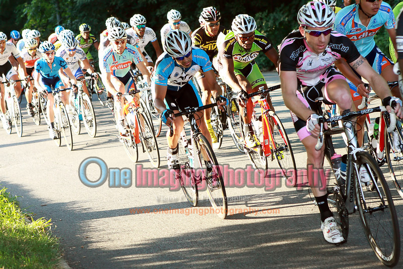 Rest of the field is coming up on the climb.<br />  Al Toefield Memorial Road Race 7/16/11 > Pro123