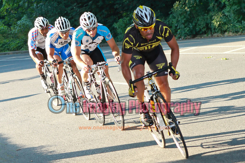 A chase group containing Jeff and Ricky, lap 5.