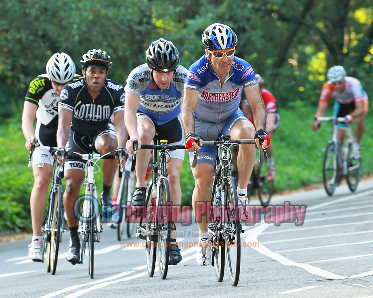 On the 4th lap, small group off the front containing John Blake, winner of cat 4 field in Harlem Crit.