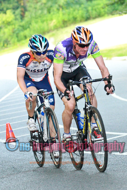 Joji near the front on the 7th lap.  On the climb.<br />  Lucarelli & Castaldi Cup race 8/6/11 > Cat 4