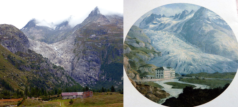 RHONE VALLEY 2014 AND VIEW OF THE HOTEL AND GLACIER IN THE 19TH CENTURY