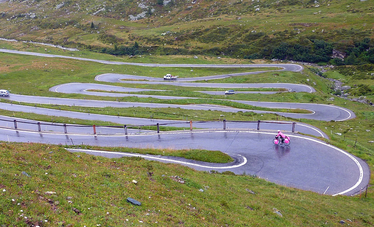 SWITCHBACKS ON THE DESCENT FROM  SPLUGEN PASS.