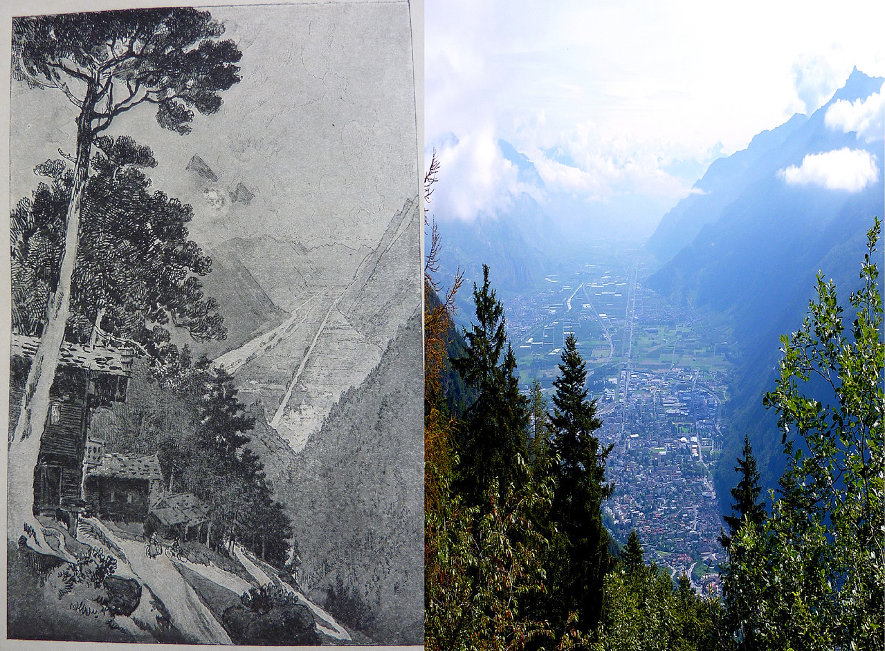 JOSEPH PENNELL'S DRAWING OF THE THE RHONE VALLEY (1897) ON THE DESCENT FROM COL DE LA FORCLAZ AND OUR PHOTO FROM THE SAME ROAD.
