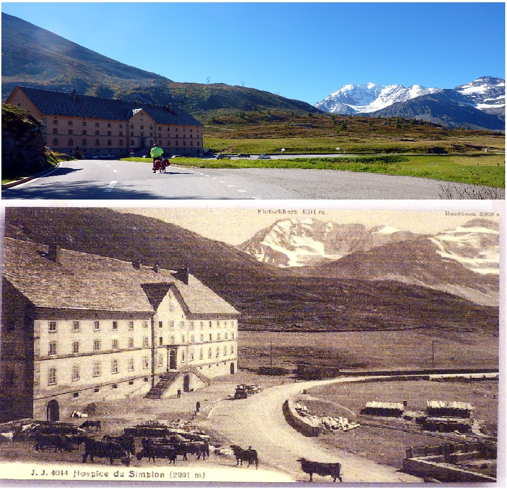 SIMPLON HOSPICE AT THE PASS WHERE THE PENNELLS SPENT THE NIGHT, WITH A PHOTO FROM A CENTURY AGO LOOKING MUCH LIKE IT DID WHEN THEY WERE THERE.
