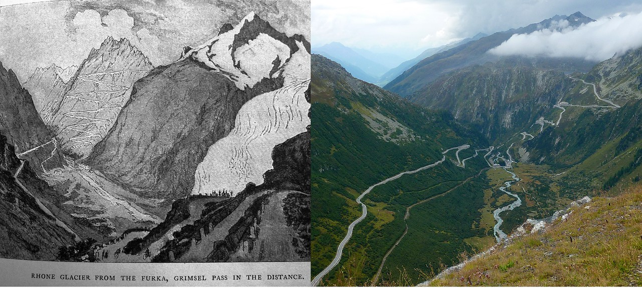 JOSEPH PENNEL'S DRAWING AND THE CURRENT VIEW OF THE ROAD FROM FURKA PASS.