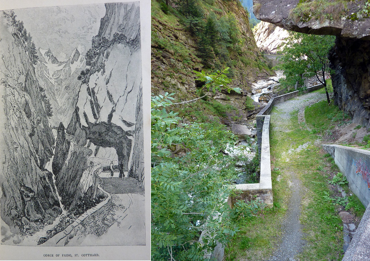 A PENNELL  DRAWING AND PHOTO OF THE SAME SPOT ALONG THE GORGE OF FAIDO - ON THE WAY TO AIROLO BEFORE ST. GOTTHARD PASS.