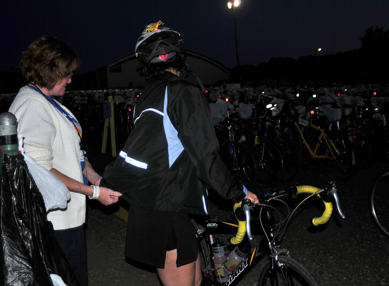 Volunteers make sure you pick up the bike that belongs to you.
