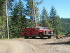 Fire truck for a logging crew working in the woods