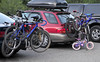 Cycling fans come in all sizes.<br /> <br /> Denny Creek Trailhead parking lot the morning of the race.