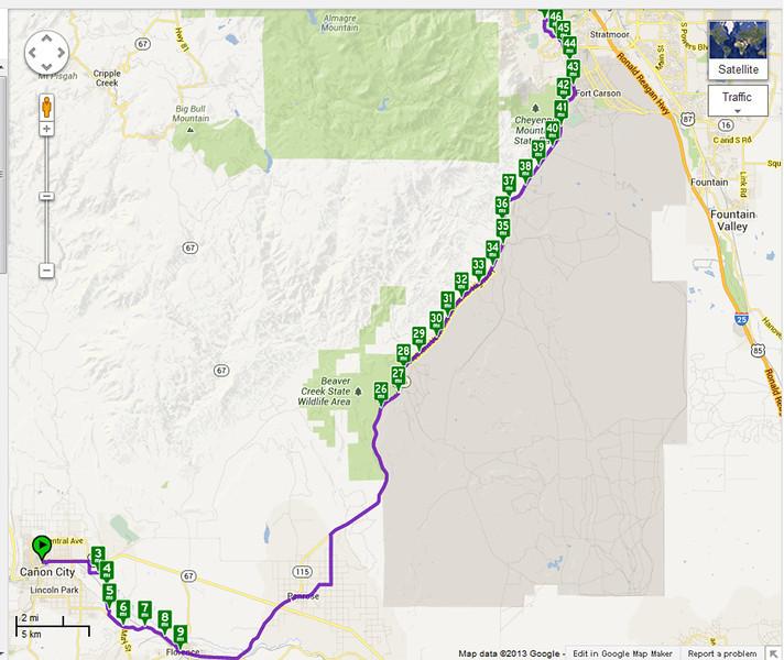 Canon City to Colorado Springs