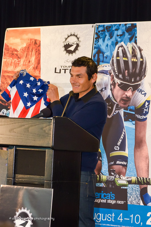 Fast Freddy Rodriquez shows off his USA Pro Champions jersey