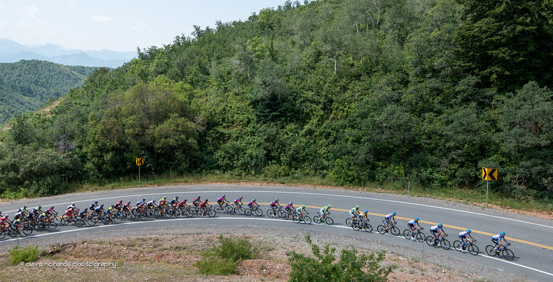 the peloton hits the final switchback on the Big Mtn. climb