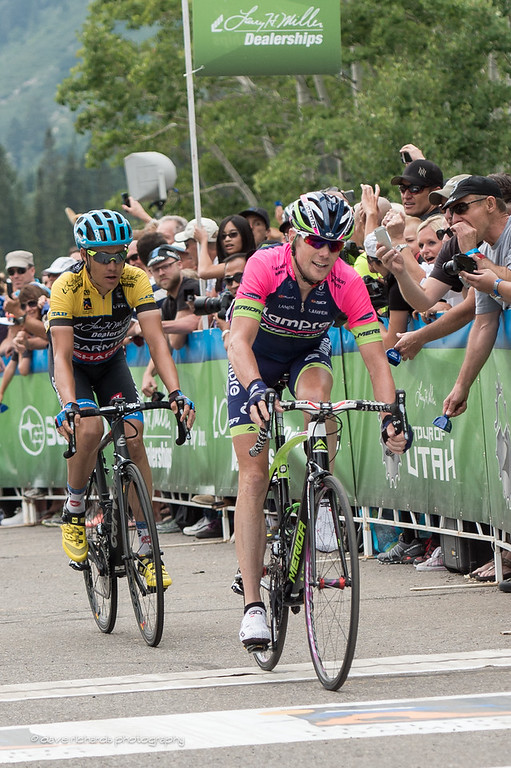 Chris Horner & yellow jersey leader Tommy D roll over the finish