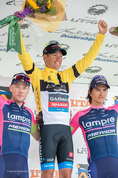 top three overall riders (L-R) Chris Horner (Lampre Merida) 2nd, Tom Danielson (Garmin Sharp) 1st, Winner Anacona (Lampre Merida) 3rd