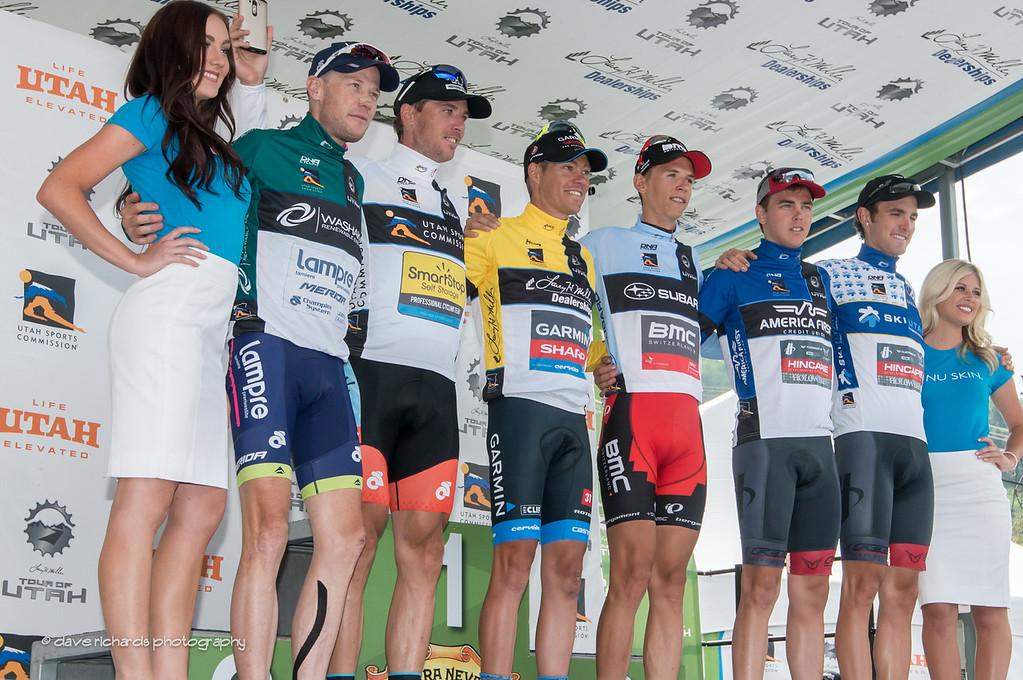 2014 Tour of Utah winners (L-R)  Best Team - Chris Horner for Lampre Merida, Sprint Leader - Jure Kocjan (Smartstop), Overall Yellow Jersey - Tom Danielson (Garmin), Best Young Rider - Dylan Theuns (BMC),  Fan Favorite Stage 7 - Dion Smith (Hincapie), King of the Mountains KOM - Joey Rosskopf (Hincapie)