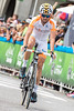 Novo Nordisk rider Javier Megias crosses the finish line