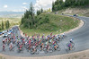 peloton rounds a hairpin turn on Wolf Creek