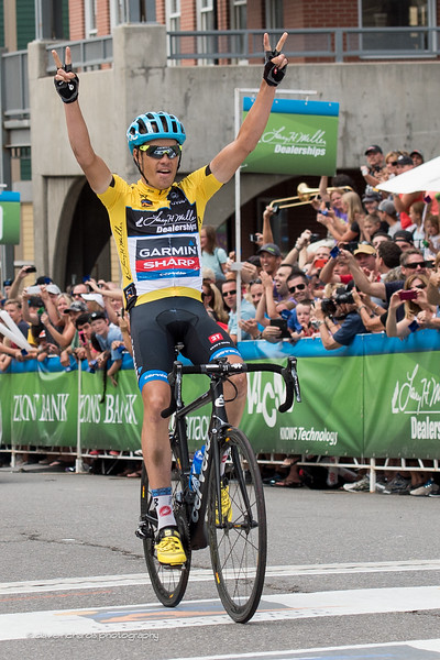 Tommy D crosses the finish inn Park City cinching the overall title