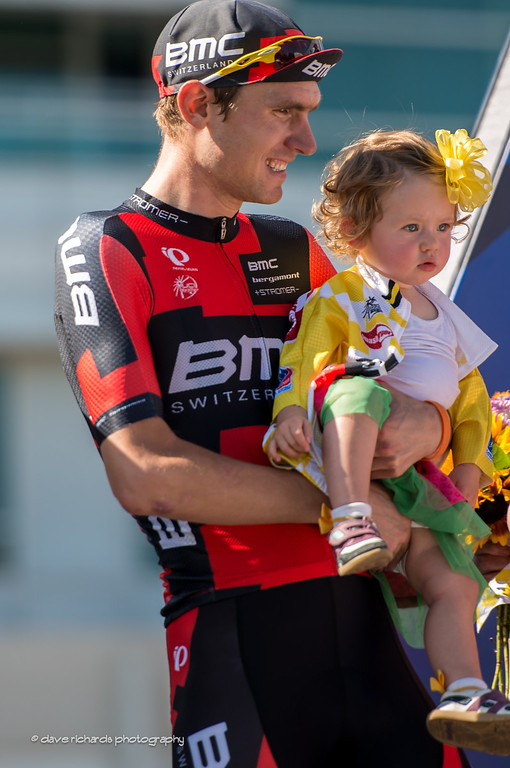 Tejay van Garderen (BMC) & daughter on the podium in Denver, Stage 7, 2014 USA Pro Challenge