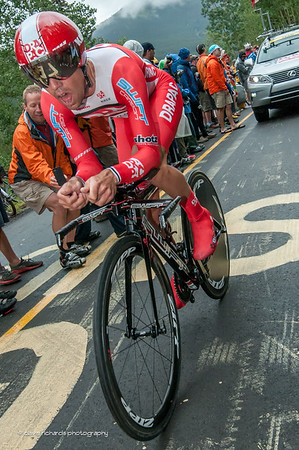 Drapac rider pushing hard for the finish line on the Vail time trial, Stage 6, 2014 USA Pro Challenge