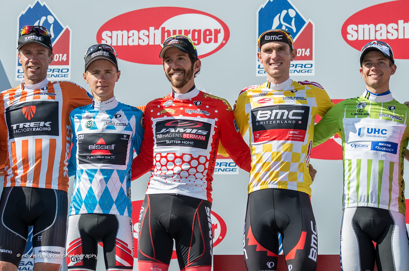 Final jersey winners: Voigt (Trek) most aggressive, Chevrier (Bissell) best young rider, Jacques Mayne (Jamis) KOM, van Garderen (BMC) overall yellow jersey race winner, Keil Reijnen (UHC) sprint points leader, 2014 USA Pro Challenge