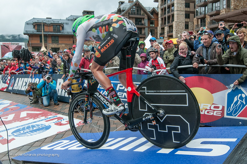 Freter (Jelly Belly) rolls down the start ramp of the Vail Time Trial to the delight of the numerous fans, Stage 6, 2014 USA Pro Challenge