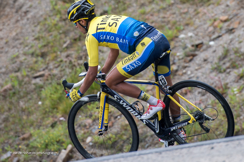 Colombian Beltran (Tinkoff) feels right at home on wet slick high alpine descent, Stage 5, 2014 USA Pro Challenge