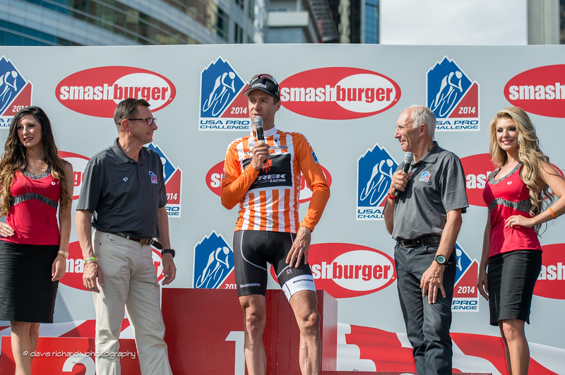 veteran commentators Paul Sherwen and Phil Liggett give a fond farewell to Jens Voigt (Trek) who retired from pro cycling at the end of this race, 2014 USA Pro Challenge