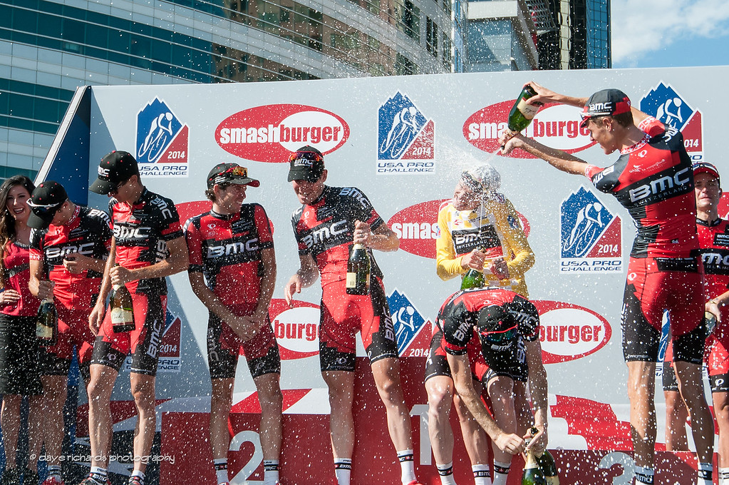 BMC team sprays champagne to celebrate winning both the overall race leader and best team classifications, Tejay is getting soaked, 2014 USA Pro Challenge