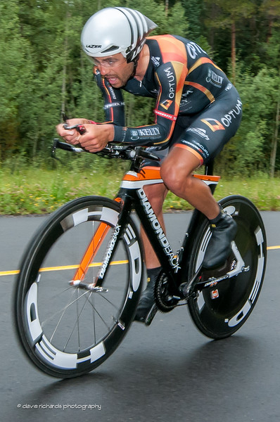 Optum/Kelly rider under strain on the final climb of the Vail time trial,Stage 6, 2014 USA Pro Challenge
