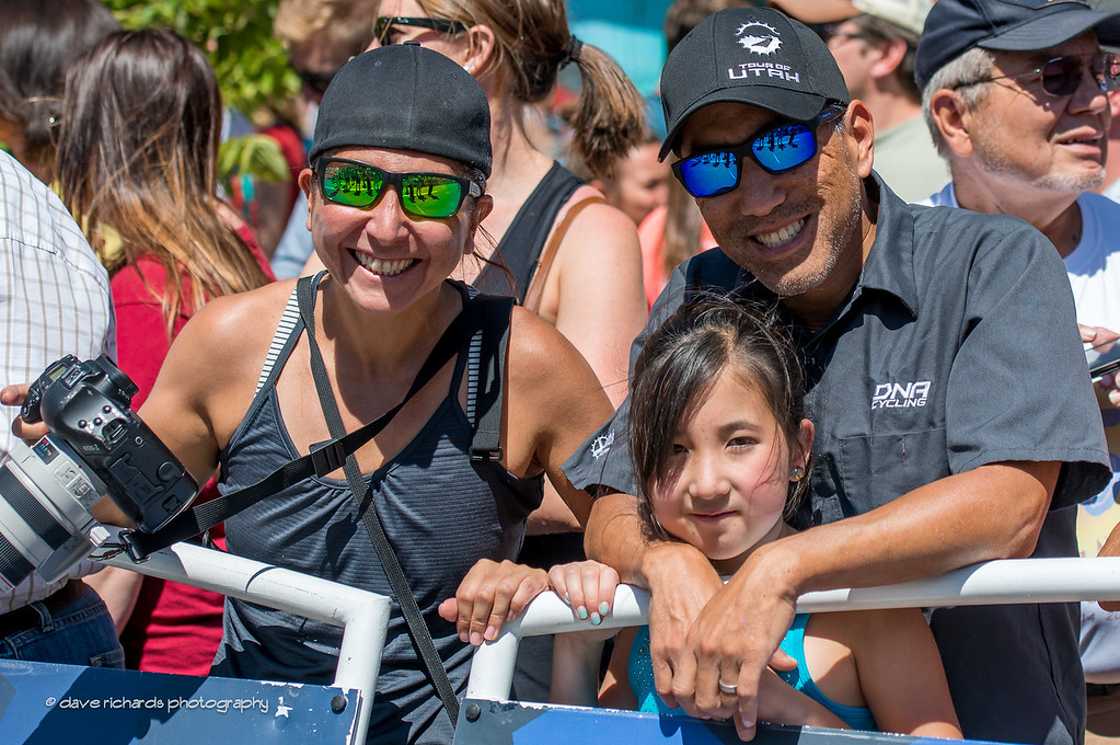 my friends Cathy, Alex and little C Kim at the startline in Boulder, Stage 7, 2014 USA Pro Challenge