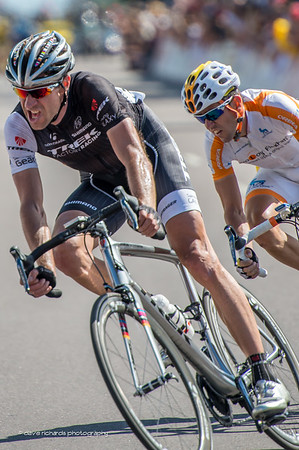 Jens Voigt (Trek) and Javier Megias (Novo Nordisk) in the breakaway fighting to maintain their lead from the peloton, Stage 7, 2014 USA Pro Challenge